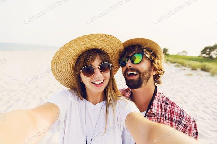 Cute  couple in love taking a selfie