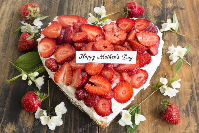 Happy Mother's Day,  Greeting Card,  with Heart Cheesecake with Strawberries