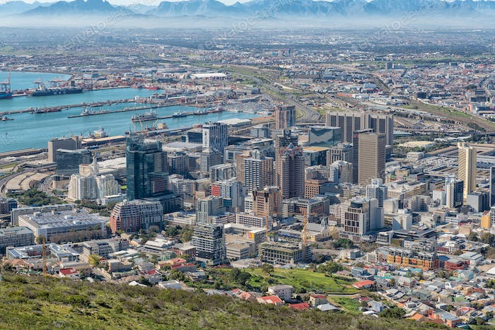 Aerial view of the Central Business District of Cape Town