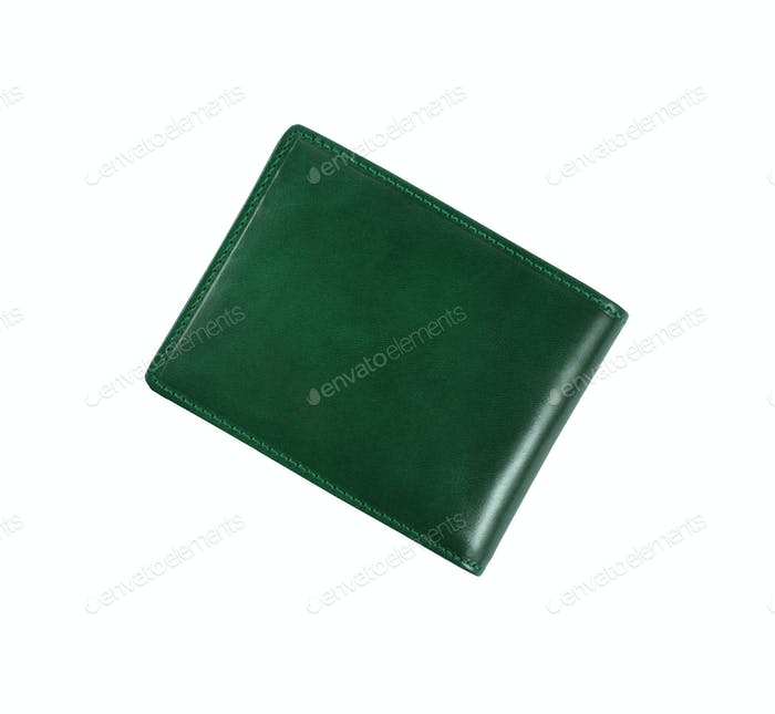 green wallet on a white background