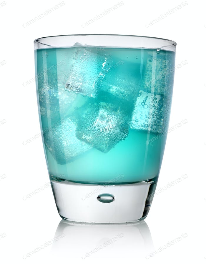 Blue drink with ice cubes