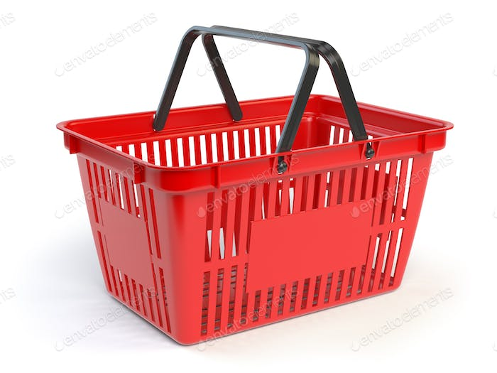 Red empty  shopping basket isolated on white background