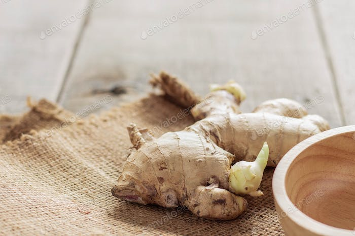 Ginger on a wooden