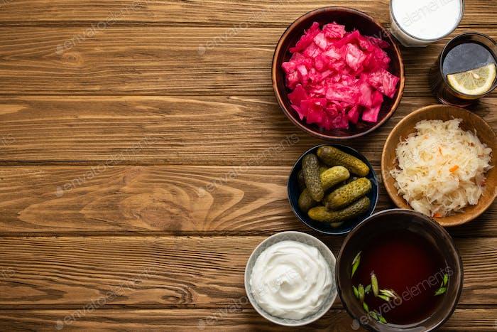 Verschiedene fermentierte Lebensmittel