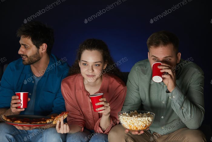 Young People Watching Movie