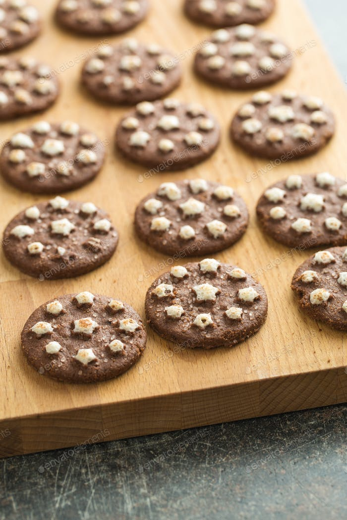 Dark chocolate cookies.