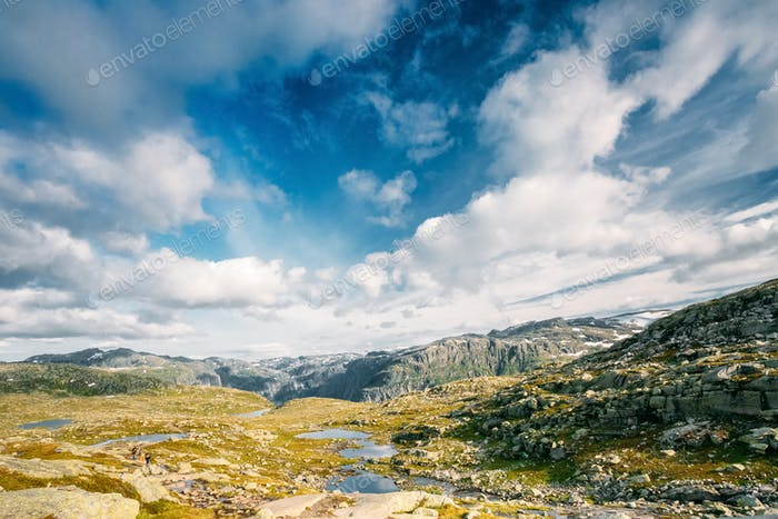 Mountains Landscape With Blue Sky In Norway. Travel In Scandinav