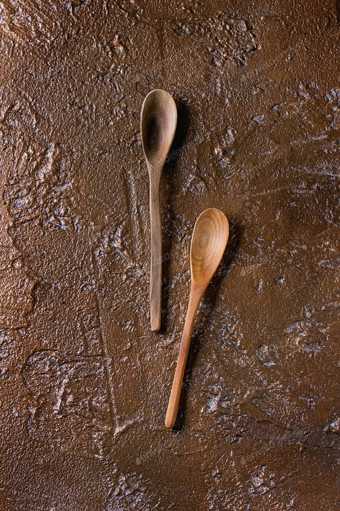 Two wooden spoons