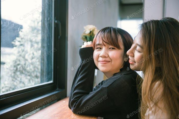 LGBT lesbian women couple moments happiness.