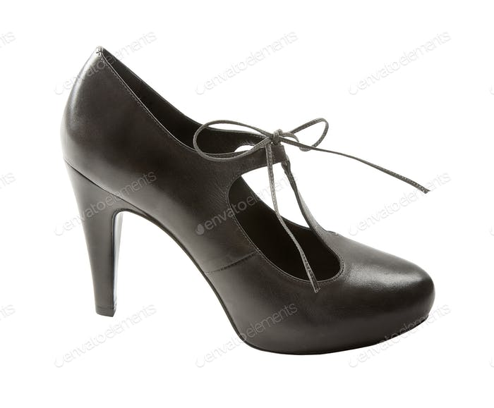 Black leather lace-up pump
