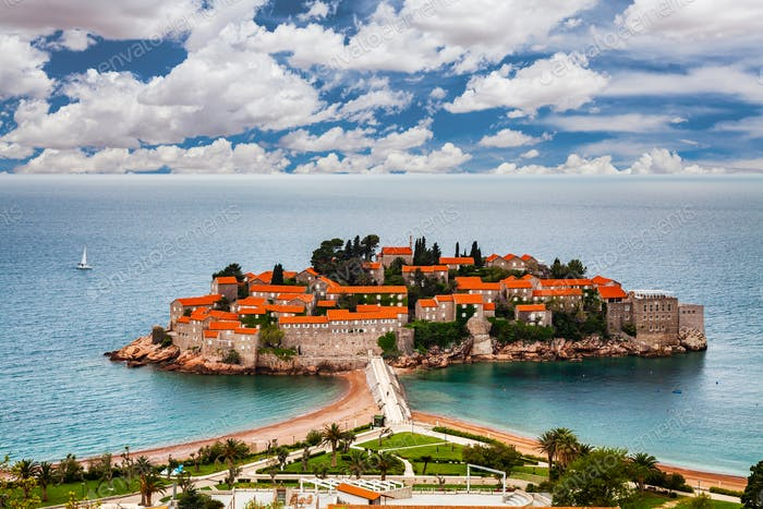 Sveti Stefan island in Budva in a beautiful summer day, Montenegro