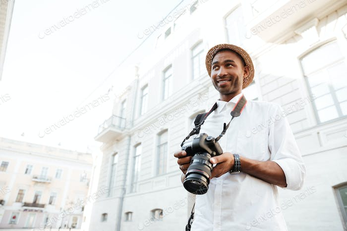 Afro photographer on the street