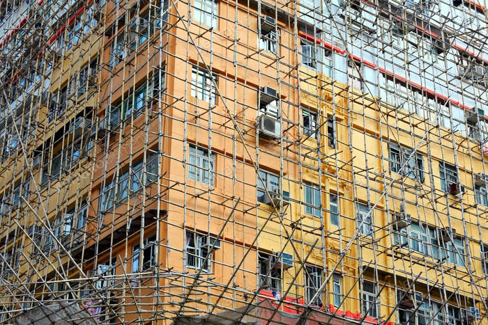 Bambusgerüst der Reparatur von alten Gebäuden
