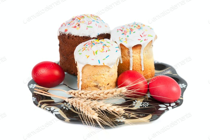 Easter cakes and eggs