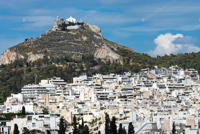 View of Mount Lycabettus in Athens