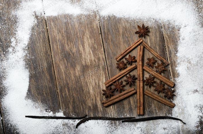 Christmas backround made of cinnamon