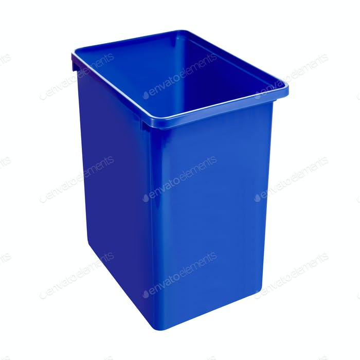 Plastic blue bucket isolated on white background