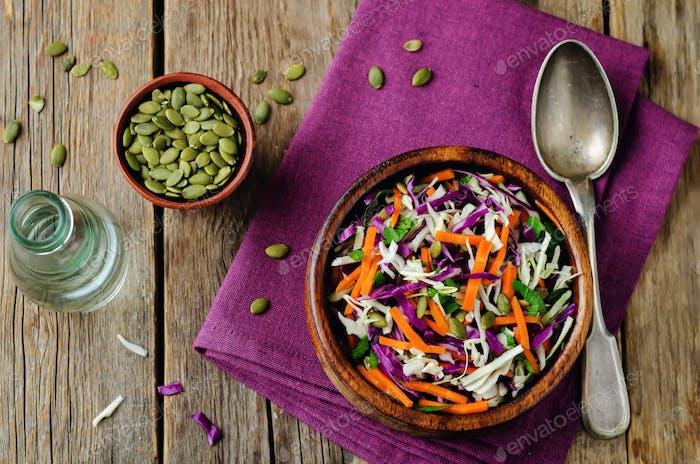 Cabbage carrot pumpkin seed slaw