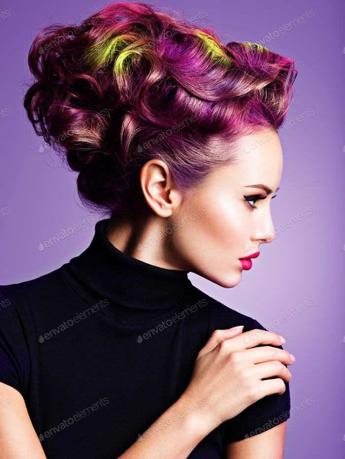 Beautiful girl with a stylish hairstyle.