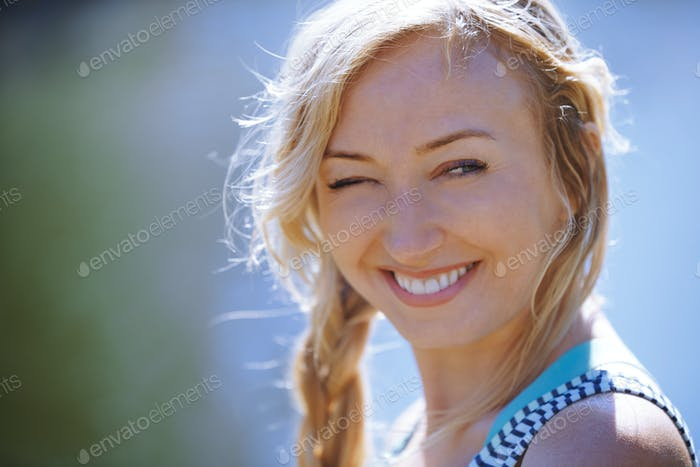 Happy woman enjoying outdoors