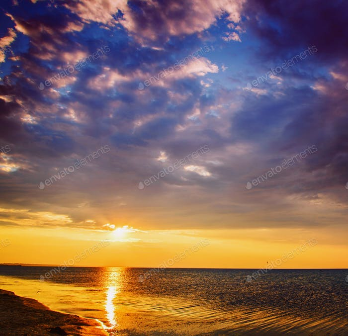 magical sunset over black sea