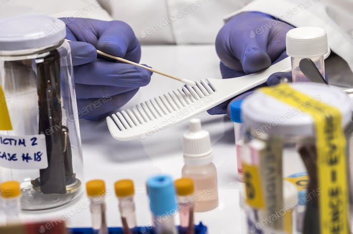 Specialized police take DNA sample from murder victim, conceptual image