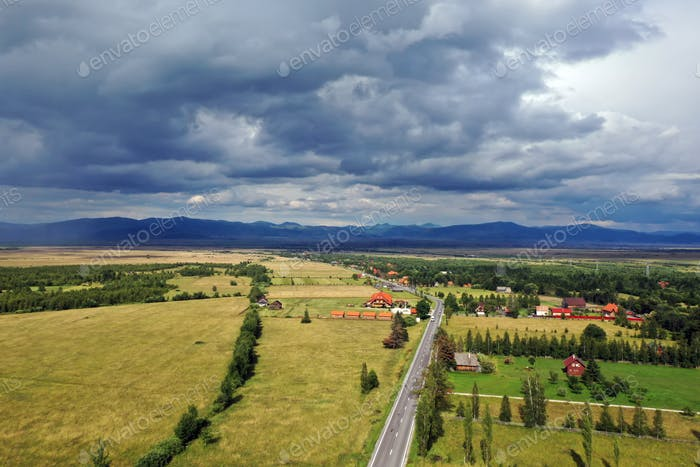 Aerial view of country landscape in the summer.