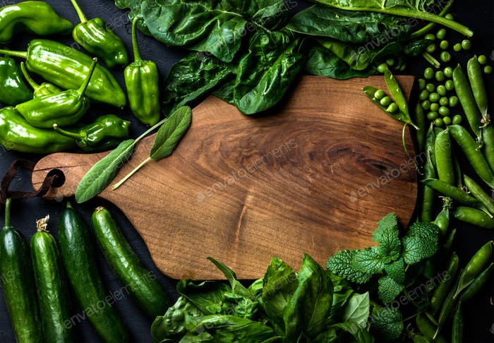 Fresh raw green ingredients for healthy cooking