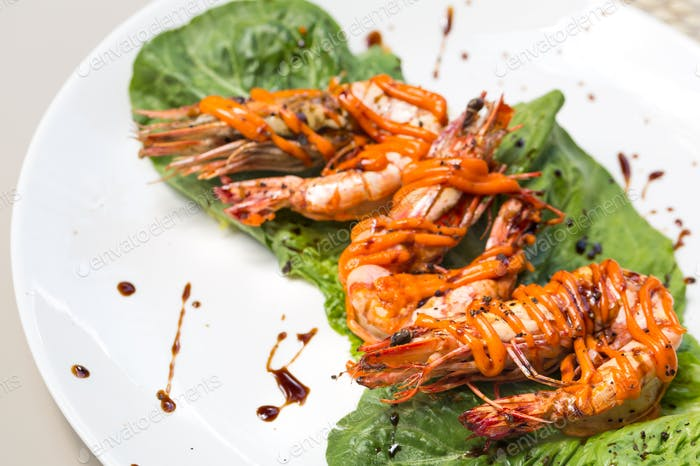 Grilled Tiger Prawn with creamy spicy korean sauce