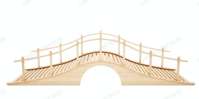 Holzbrücke isoliert auf weißem Hintergrund. 3D Rendering.