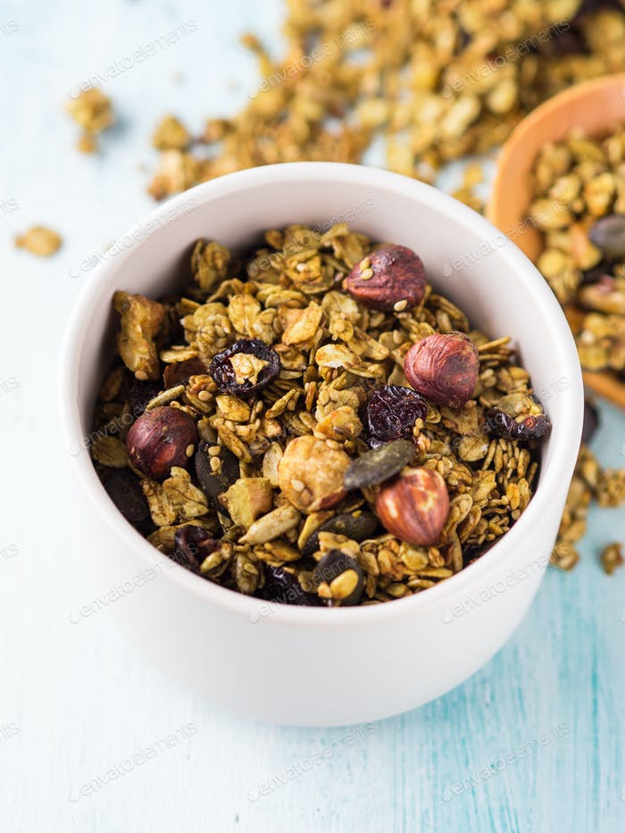 Matcha green tea granola with nuts and seeds