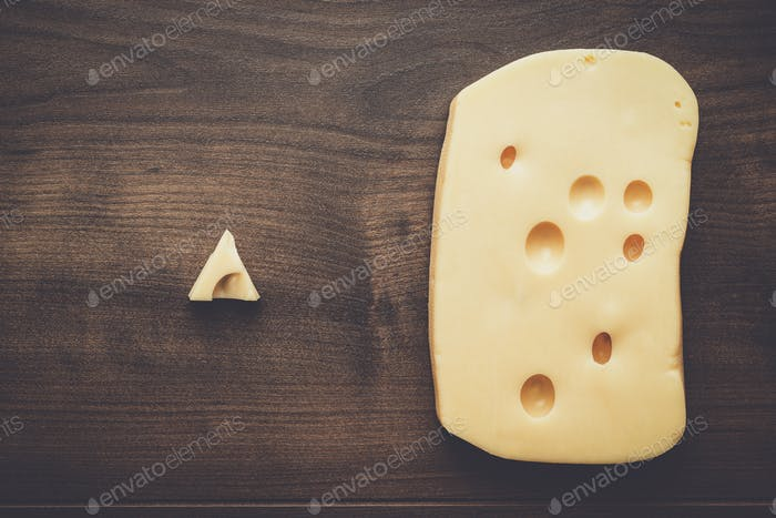 small and big pieces of cheese