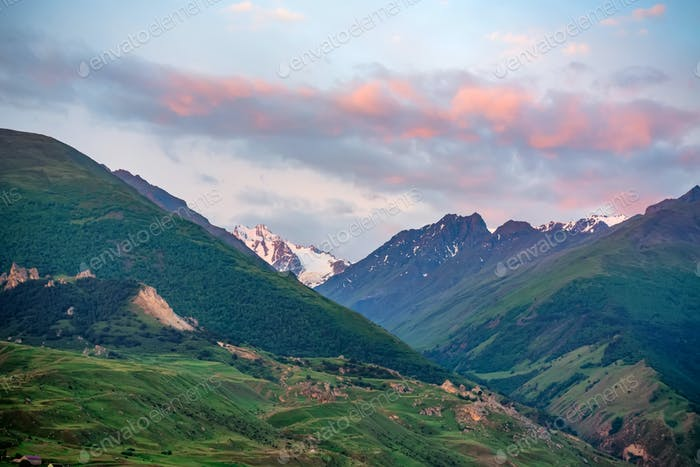 View of beautiful mountains in northern caucasus