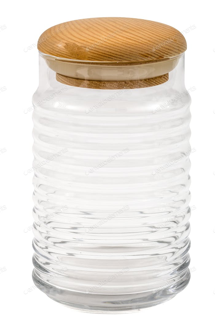 Empty glass jar with lid from wood, isolated on white, with clip