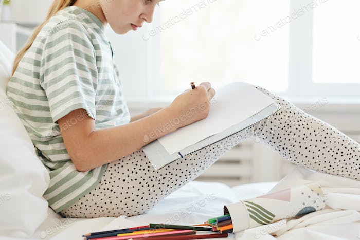 Girl Drawing Side View