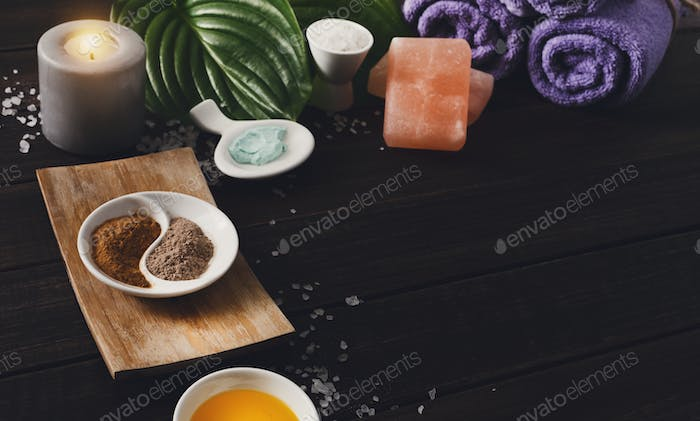 Spa treatment, aromatherapy background. Details and accesories