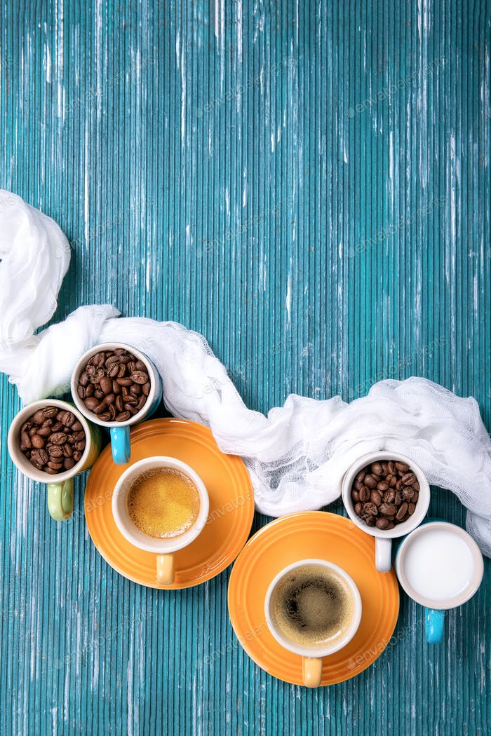 Coffee beans in cups