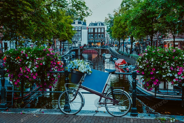 Vibrant flowers and bicycle bike on a bridge of Amsterdam at early evening. Twilight on the famous
