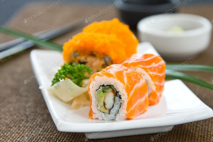 Salmon and Fish eggs Maki Sushi