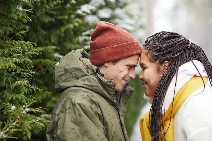 Loving couple in winter