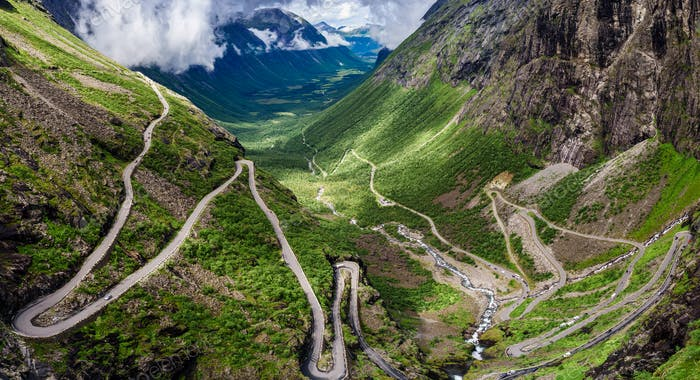 Troll's Path Trollstigen or Trollstigveien winding mountain road