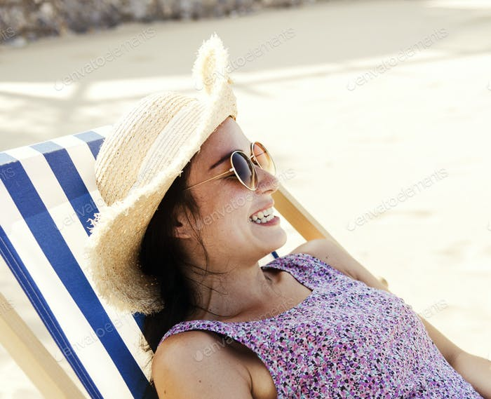 Girl relaxing at the beach