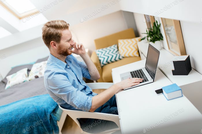 Self employed businessman working from home
