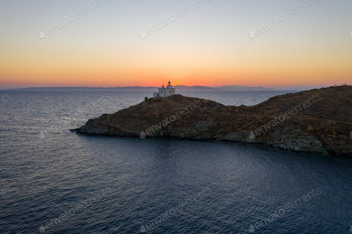 Kea Tzia island, Cyclades, Greece. Aerial view of Vourkari marina at sunset.
