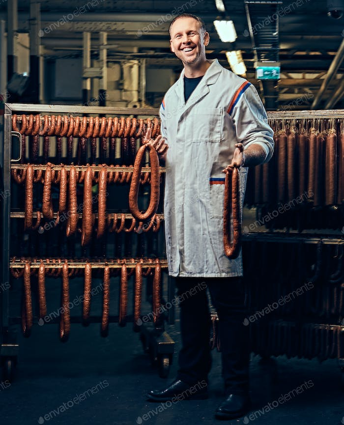 A man in sausage storage.