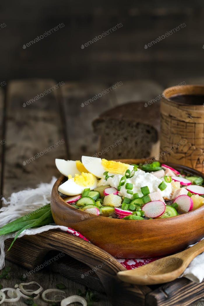 Russian cold soup okroshka background