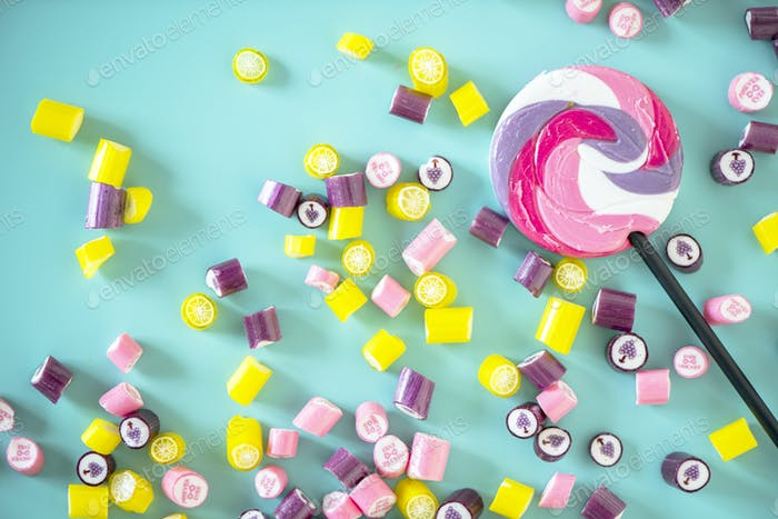 Flat lay of candy isolated