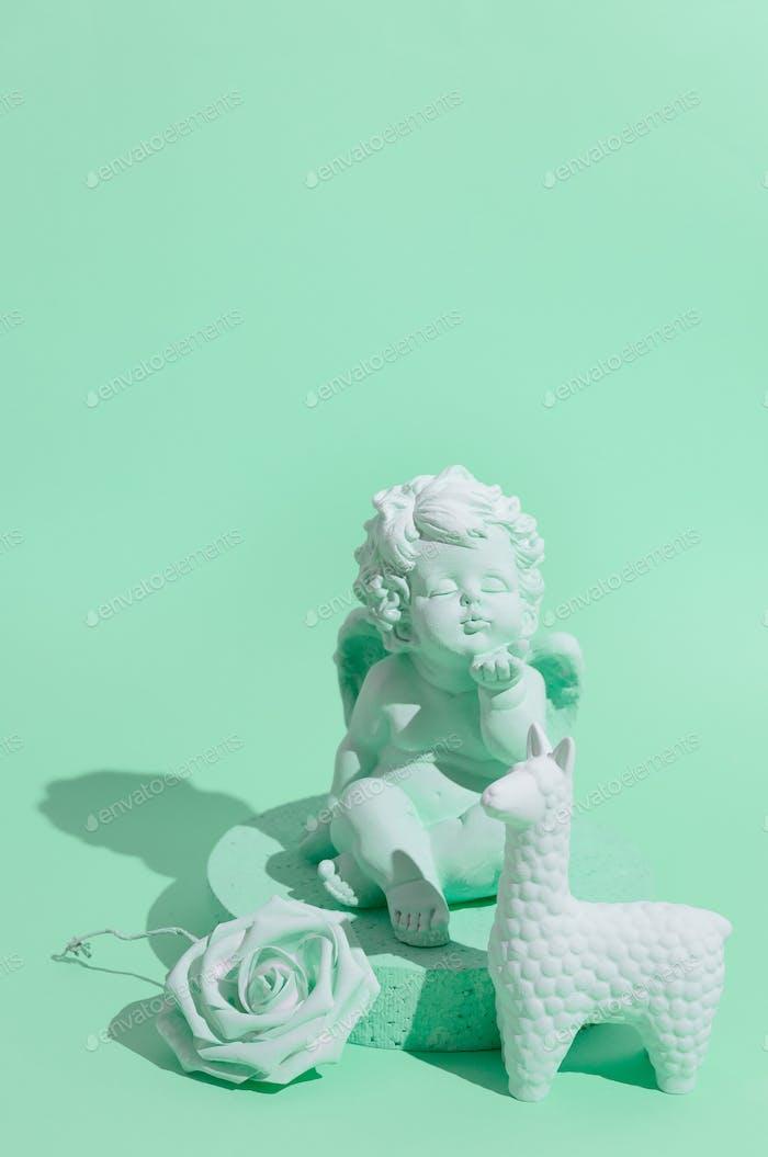 Angel. Minimal still life art. Monochrome trendy colours. Aqua menthe design
