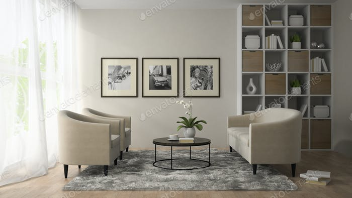 Interior of modern room  with three posters on the wall  3D rend