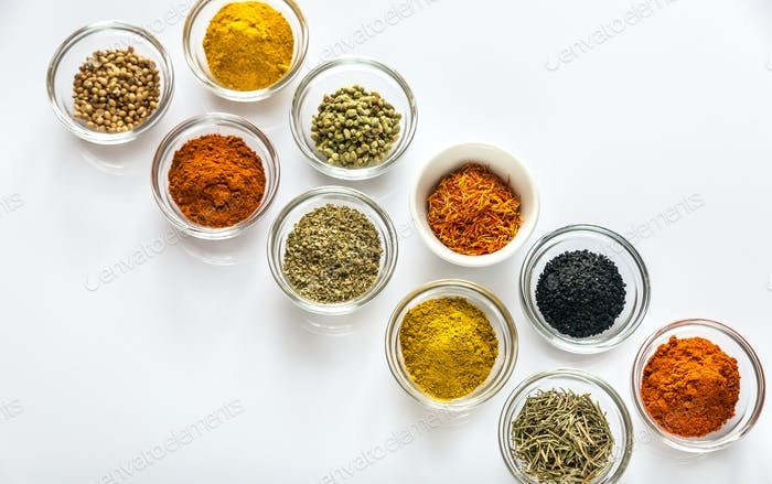 Different kinds of spices and herbs